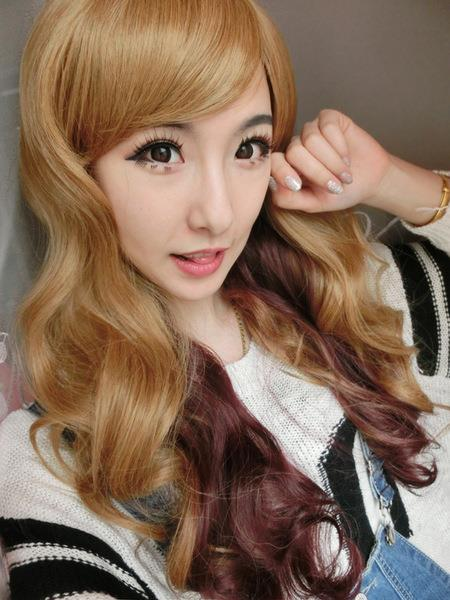 Cosplay hair wig brown mix lo7/ ready stock/ rambut palsu