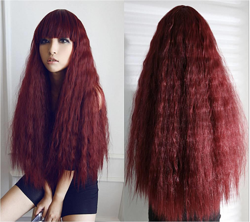 Cosplay hair wig YT2/ready stock/rambut palsu/wine red