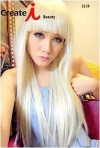 Cosplay lady gaga blonde wig 70cm/ready stock-rambut palsu