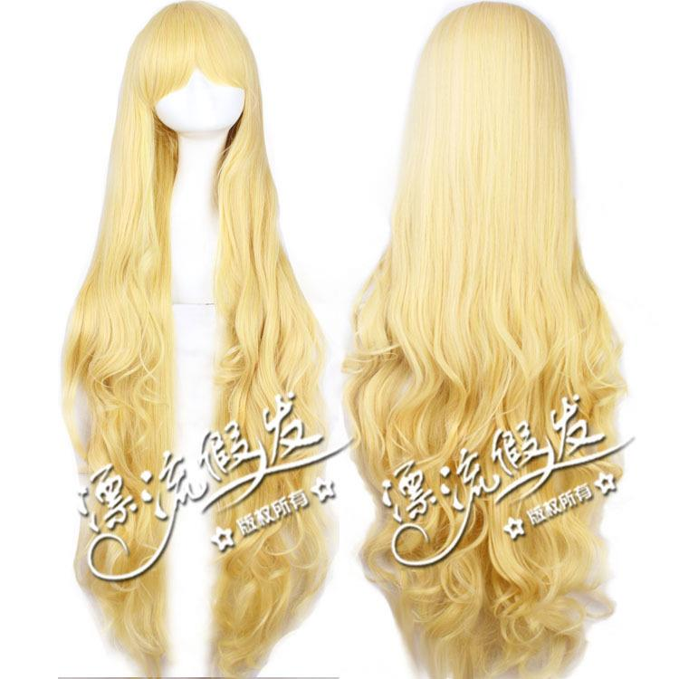 Cosplay wig 100cm blonde project ready stock-rambut palsu