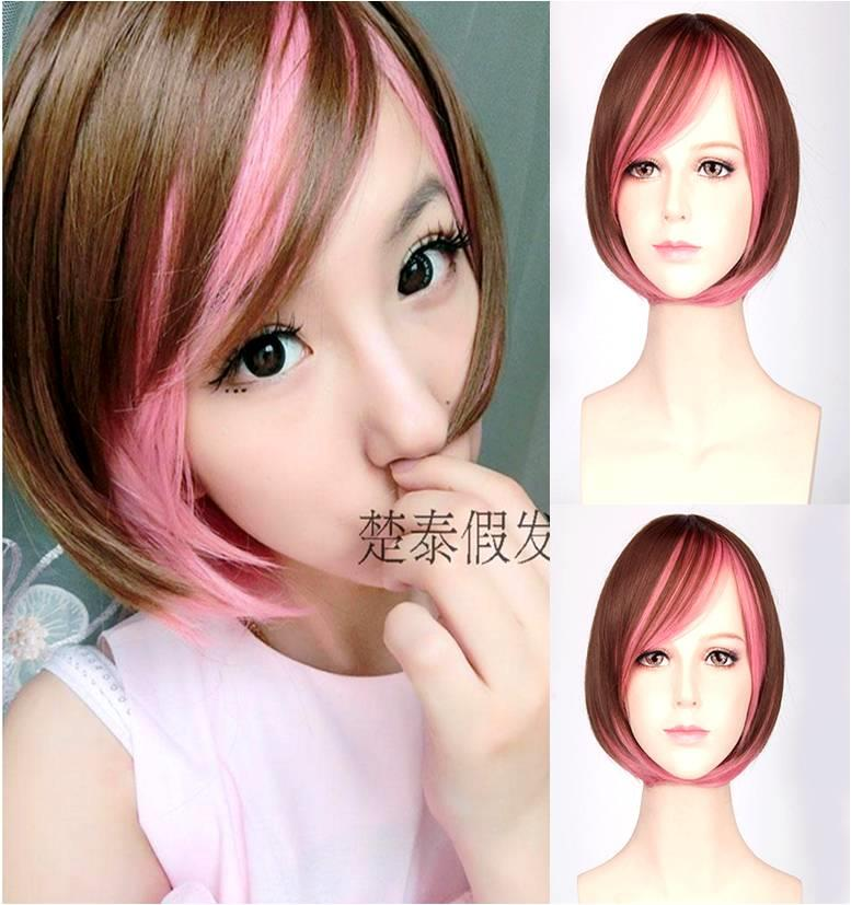 Cosplay wig pink ombre ready stock-rambut palsu