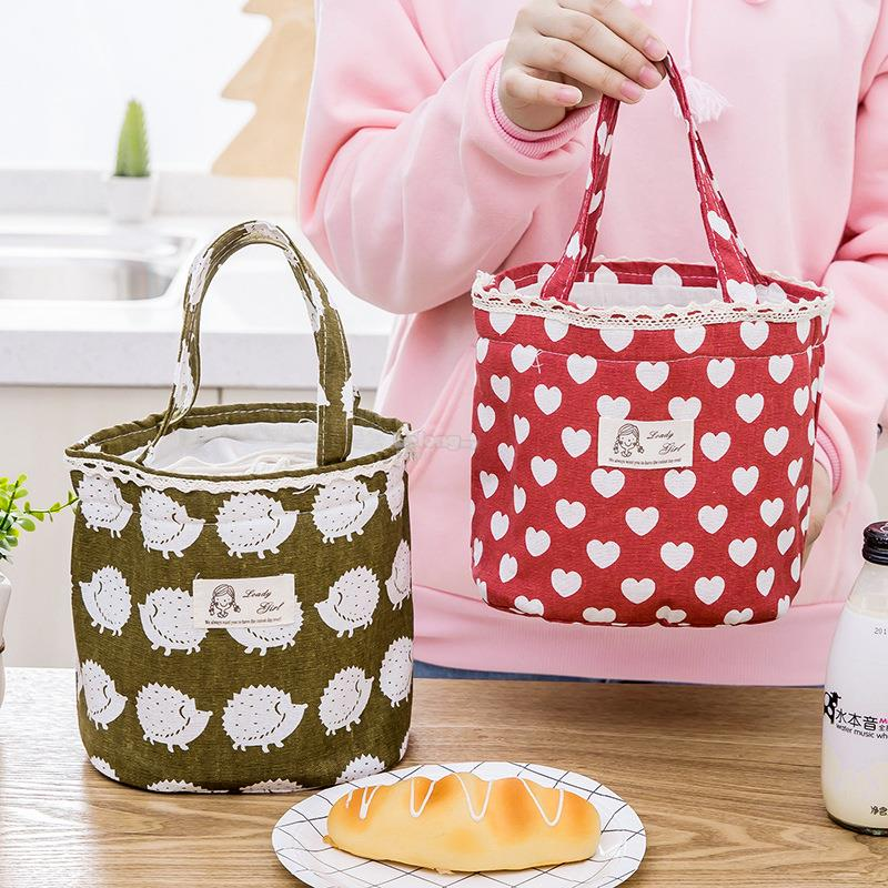 Cotton Linen Picnic Lunch Bag Heat Preservation Cold Insulation with D