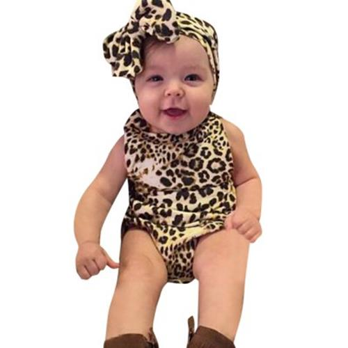 COTTON MATERIAL LEOPARD PRINT BABIES ROMPERS WITH HAIR BAND (YELLOW) bcea6411a665