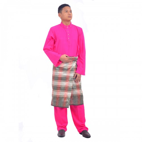 cotton silk baju melayu crepe a2 dark pink
