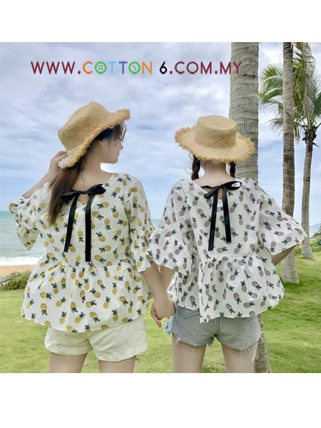 Cotton6 Women Big Size Pineapple Printed Trumpet Sleeve Blouse