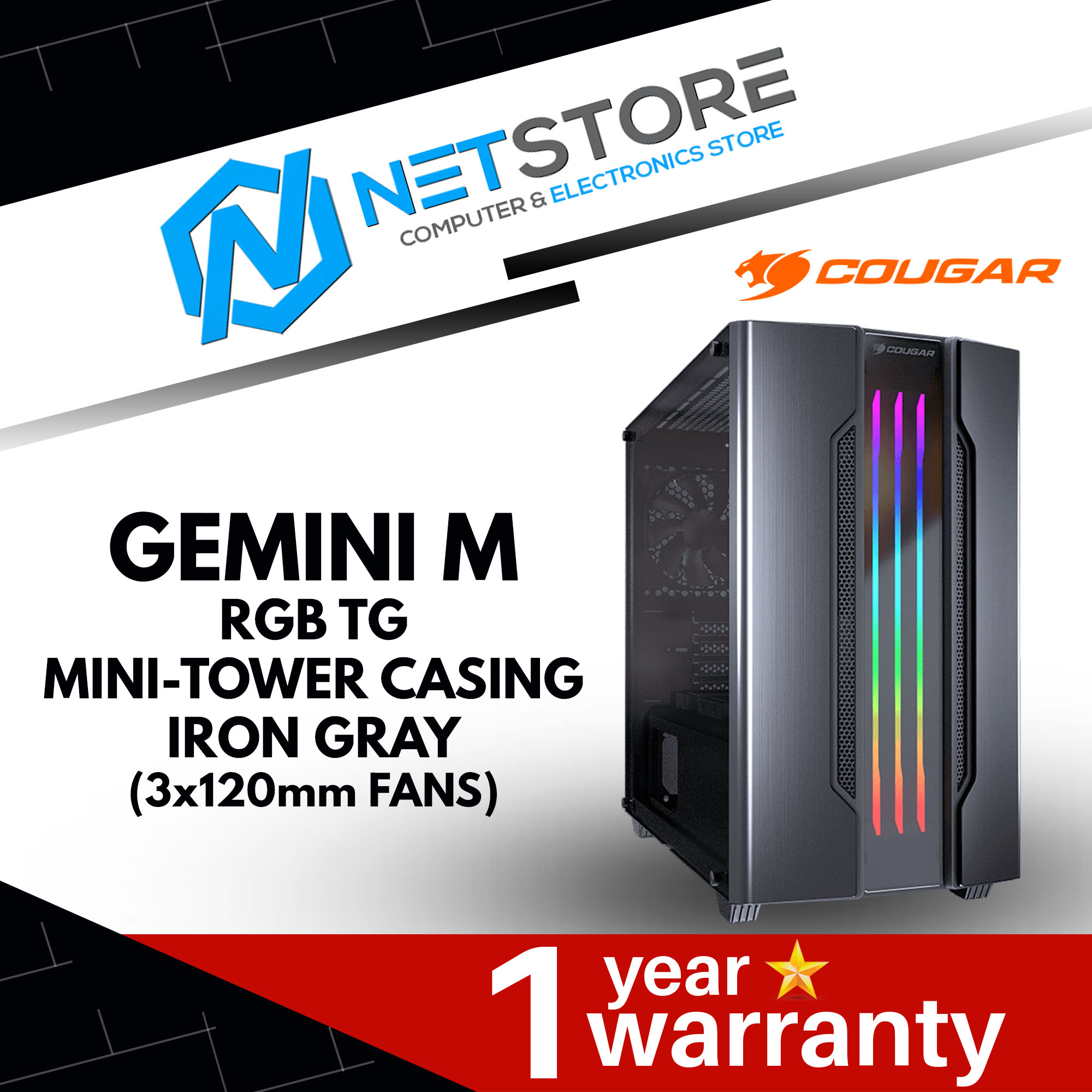 COUGAR GEMINI M TEMPERED GLASS RGB MINI TOWER IRON GRAY (3x120mm FANS)
