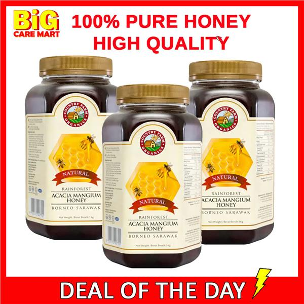 Country Farm Acacia Honey from Rainforest 100% Pure 1kg X 3bottles