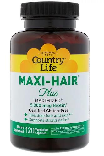Country Life, Maxi Hair Plus, 5,000 mg, 120 Vcaps (Biotin, Botak) USA