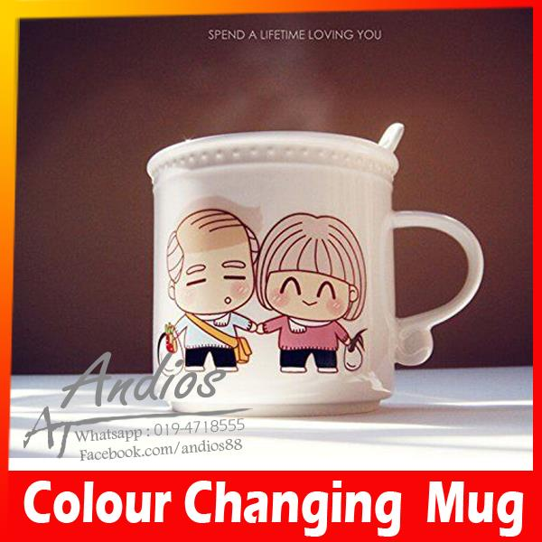 Couple Love Mug-Magic Color Changing Ceramic Cup.Cawan Magik Rumah
