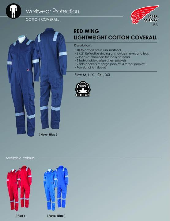 Coverall Red Wing 100% Preshrunk Cotton 6Reflector 75914 NFR