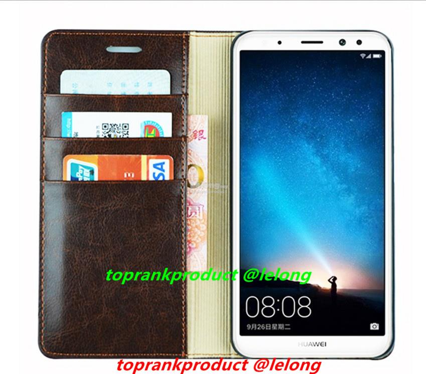 Cow Leather Huawei Nova 2i Flip Card Slot Stand Case Cover Casing
