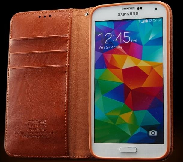 Cow Leather Samsung Galaxy S5 I9600 Card Slot Flip Case + Free SP