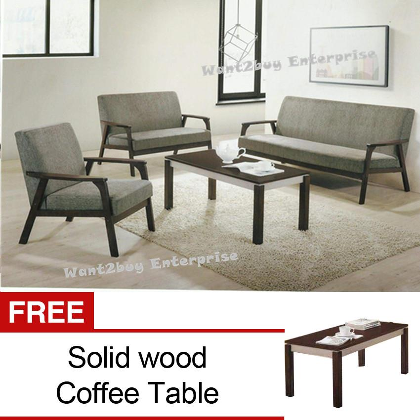 Cozy New Modern Fabric 1 2 3 Wooden Sofa Set With Free Coffee Table