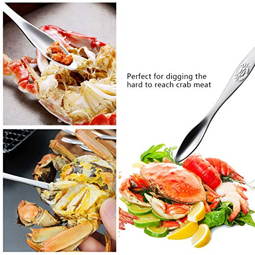 Crab Leg Crackers and Tools - 7 Piece Seafood Tools Upgrade Stainless Steel Lo