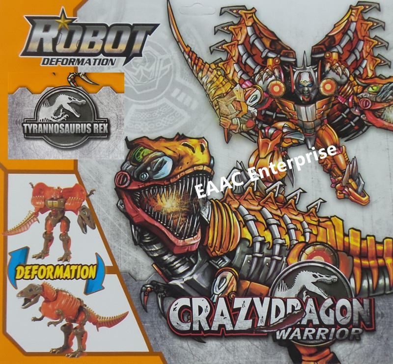 Crazy Dragon Warrior Dinosaur T. Rex Transformer Tobot Robot Orange