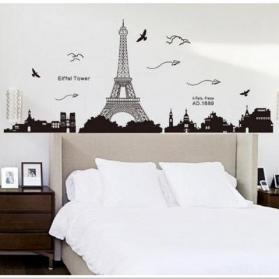 Creative Paris Eiffel Tower Wall Sticker Removable Wall Decoration Bed