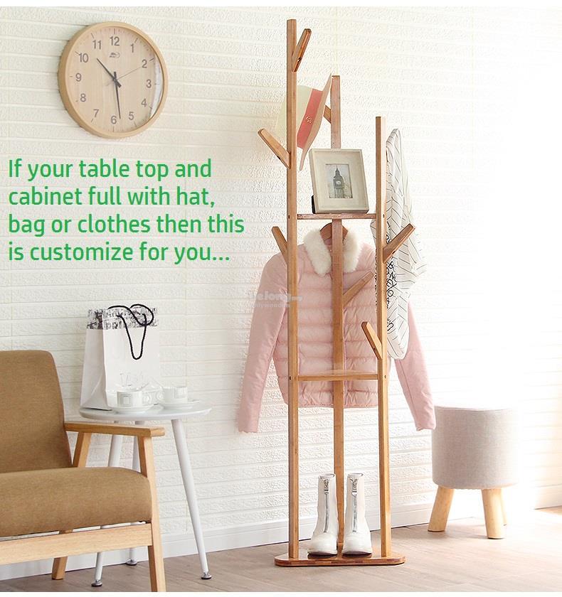 Creative Wooden Clothes Hat Rack, Wood DIY Bed Room Bag Shelf