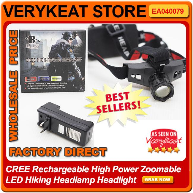 CREE Rechargeable High Power Zoomable LED Hiking Headlamp Headlight