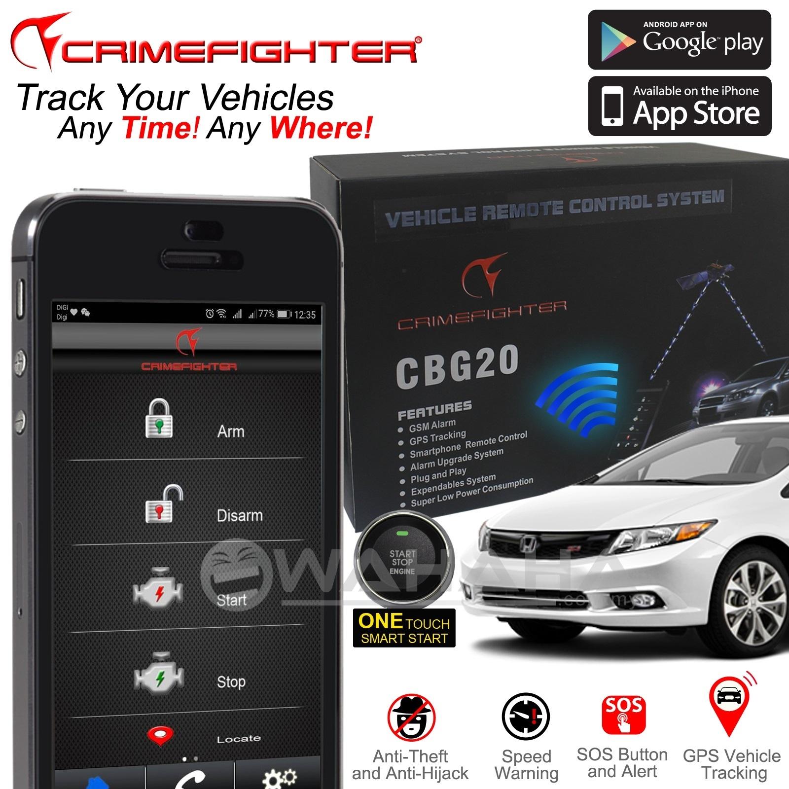 CRIMEFIGHTER CBG207 GSM GPS Smartphone Remote Car Alarm System. ‹ ›