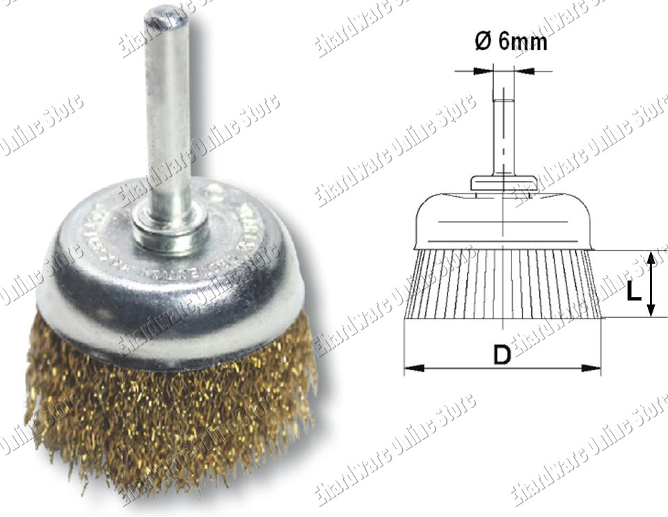 CRIMPED WIRE 6MM SHAFT-MOUNTED CUP BRUSH (9010D)