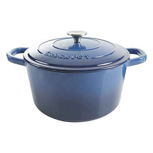 Crock Pot Artisan Round Enameled Cast Iron Dutch Oven, 7-Quart, Sapphire Blue