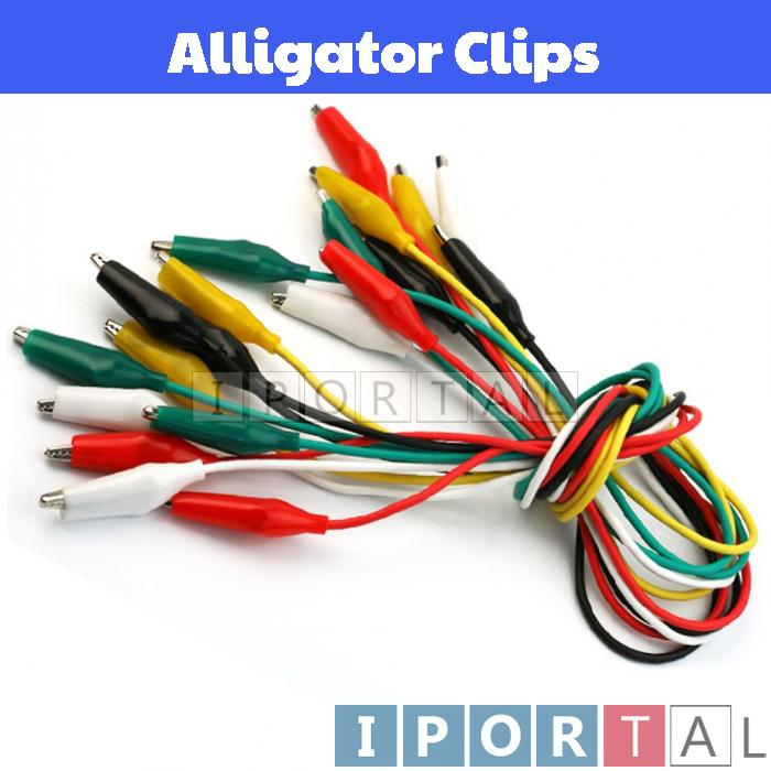 Crocodile / Alligator Clip with Wire 50cm - 10pcs per Pack