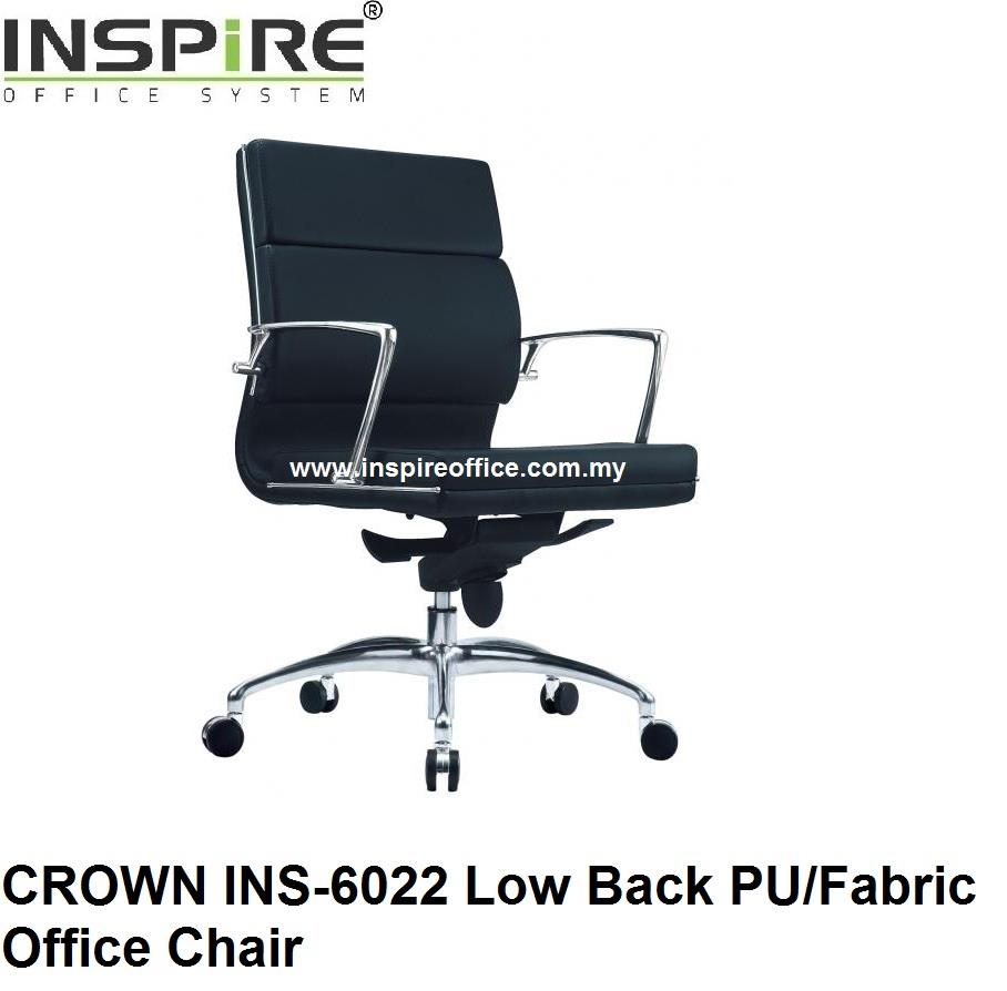 CROWN INS-6022 Low Back PU/Fabric Office Chair