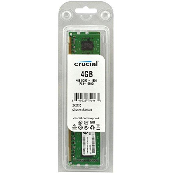 Crucial 4GB DDR3 1600Mhz Desktop RAM - CT51264BA160BJ