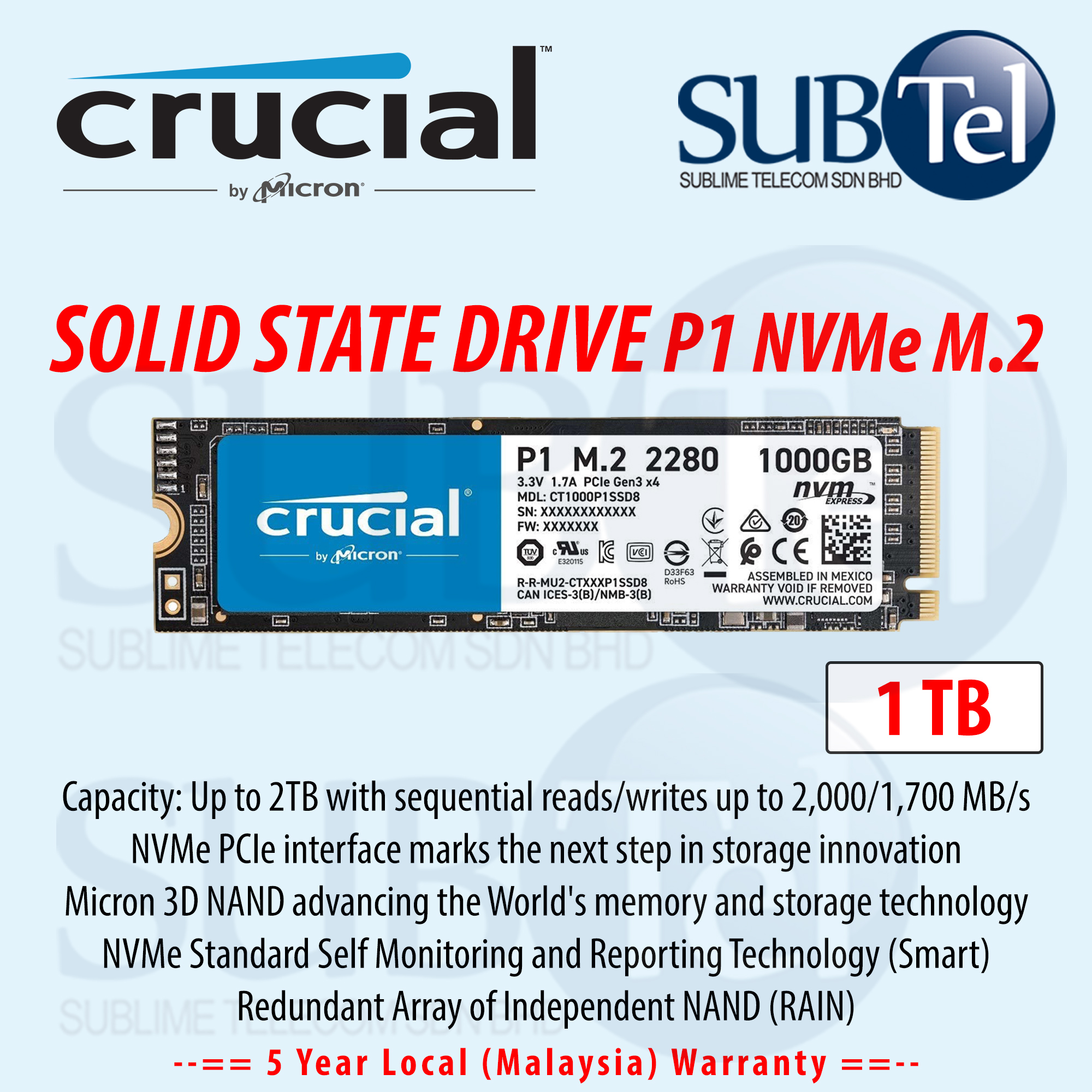 Crucial P1 1TB 1000GB NVMe PCIe M.2 SSD Internal Solid State Drive