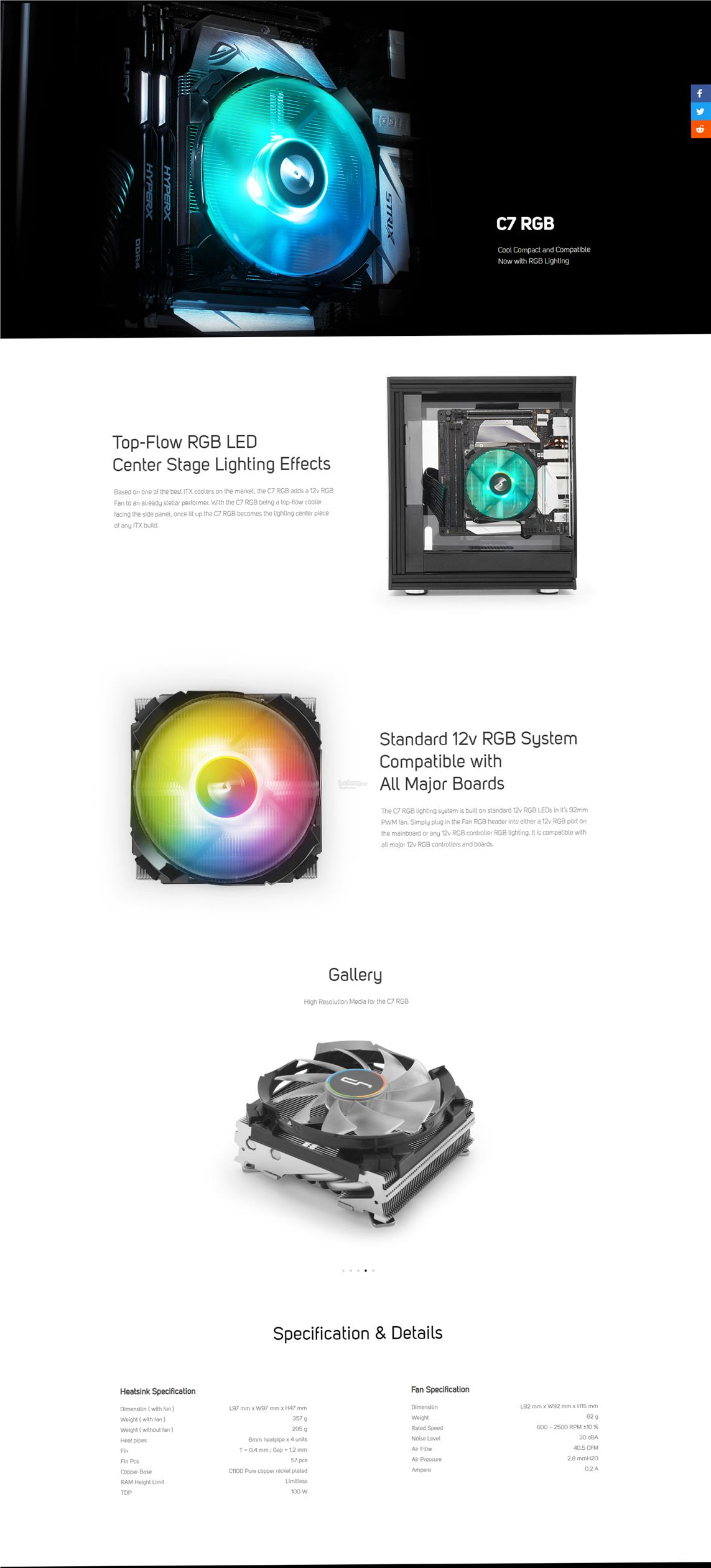 # CRYORIG C7 RGB - Low Profile CPU Air Cooler # Design for mini-ITX