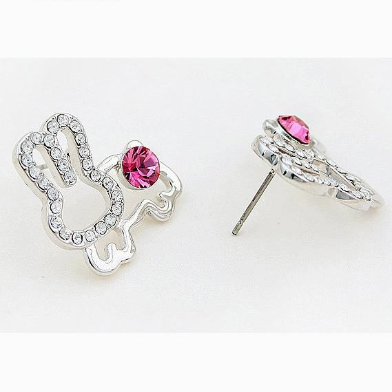 Crystal Earrings - Rabbit (Pink)