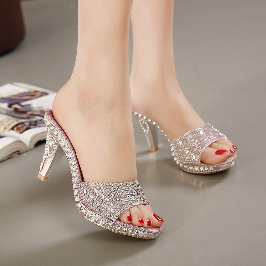 Crystal Embellished High Heels Slipp (end 8/5/2018 12:46 PM)
