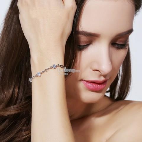 Crystal Sterling Silver Bracelet Crystal Female