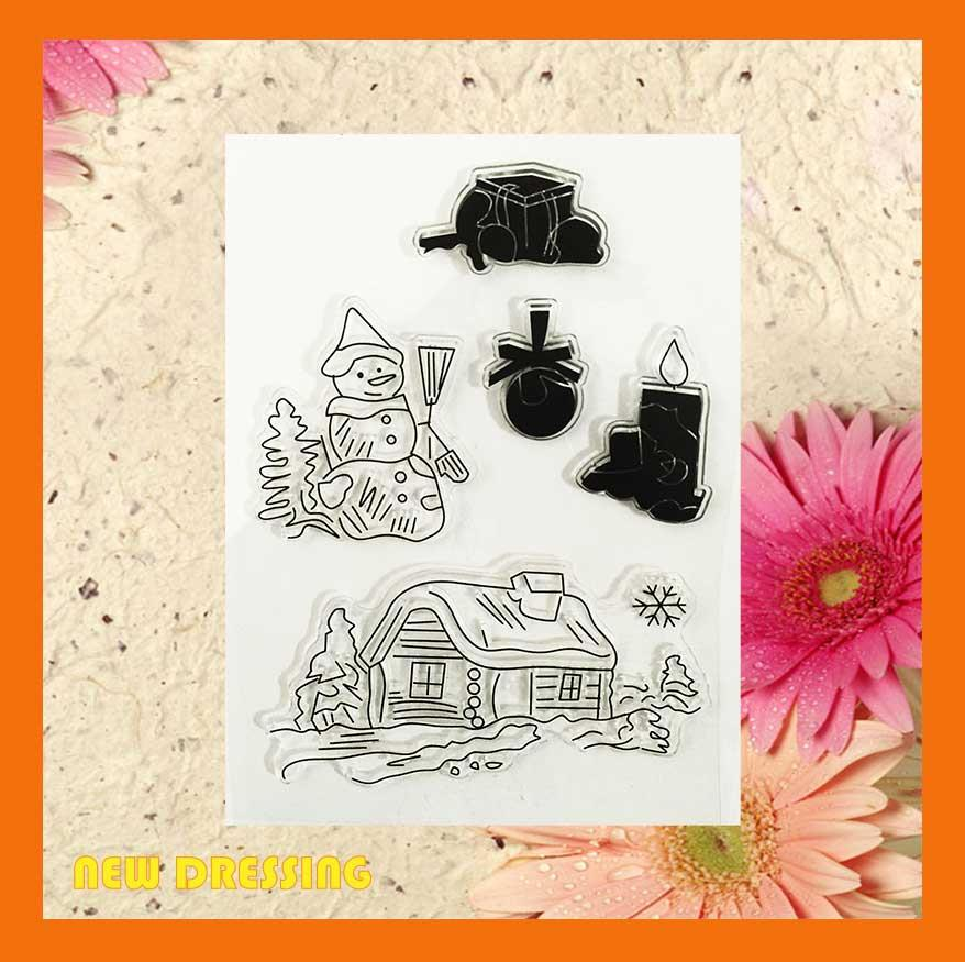 CS026 - Snowman and House Clear Stamp