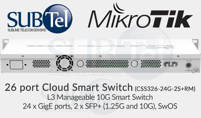 CSS326-24G-2S+RM Mikrotik SFP 10G Core Smart Switch 24 port Gigabit