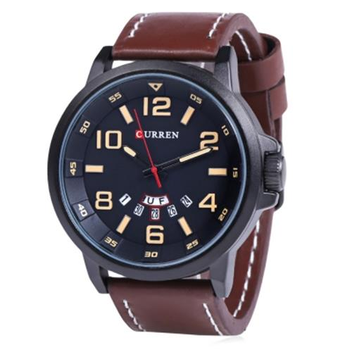 CURREN 8240 FASHION WATER RESISTANT MALE QUARTZ WATCH WITH LEATHER STRAP  (YELL. ‹ › b048f49d83