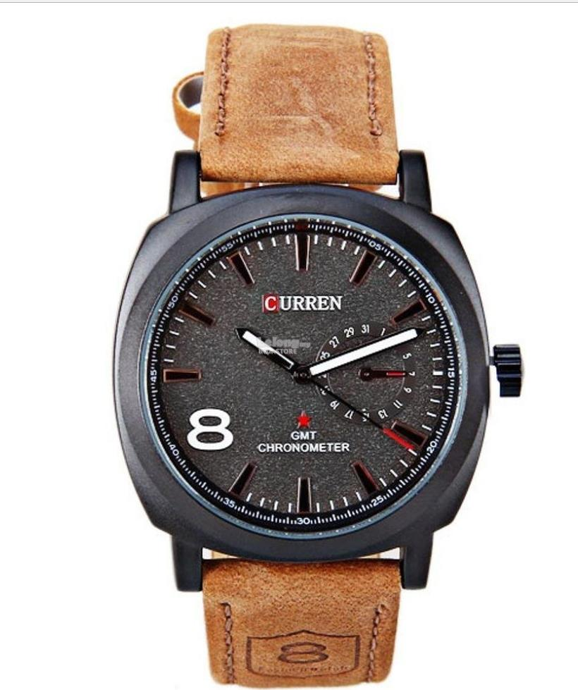 CURREN WATCH SPORTS LEATHER BLACK