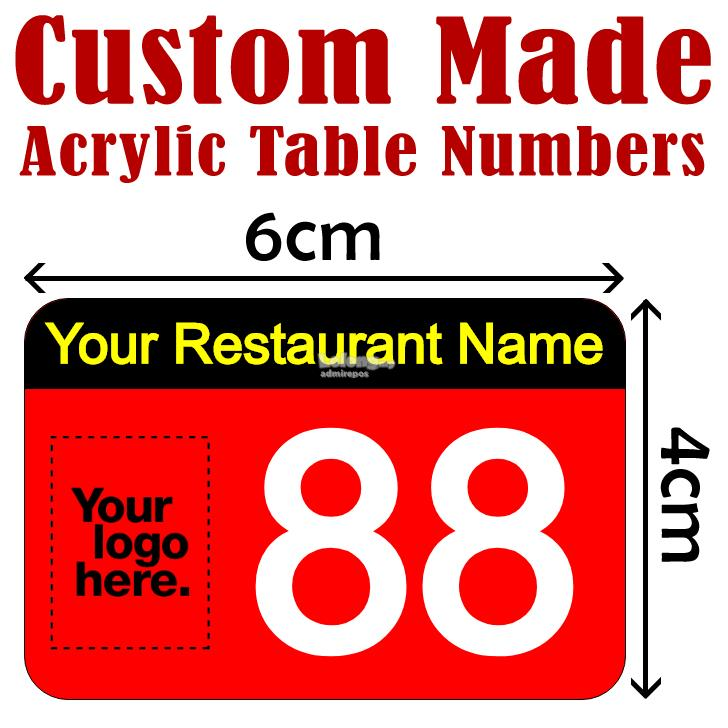 Custom Made Acrylic Table Number Res End PM - Custom restaurant table numbers