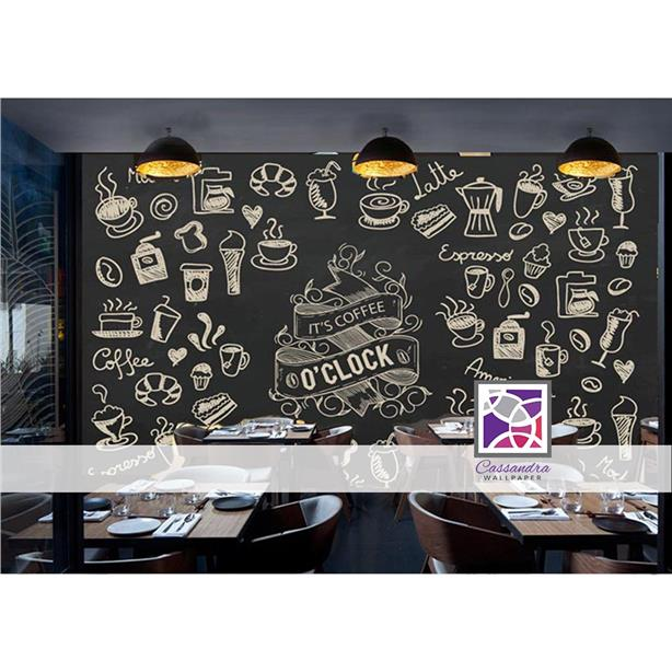 Custom made budget wallpaper cafe coffee free delivery sticker