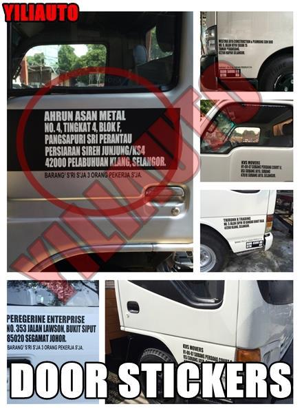 Custom made door company name address signwriting lorry sticker