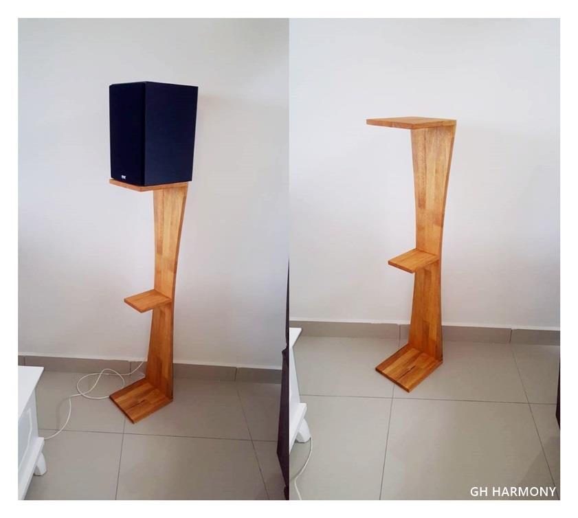 Custom Hand Made Solid Rubber Wood Speaker Stand Bookshelf