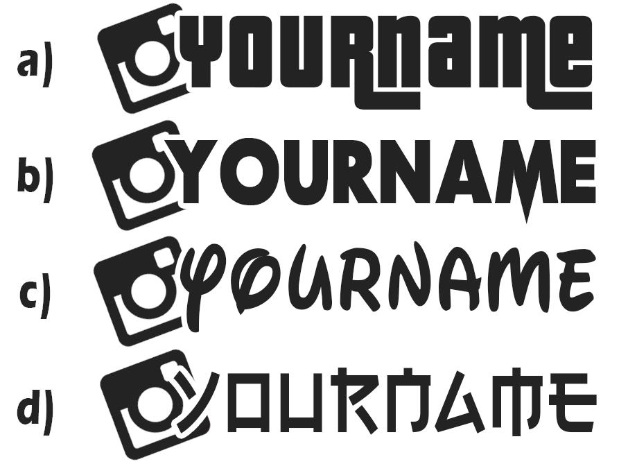 Custom instagram username decal sticker