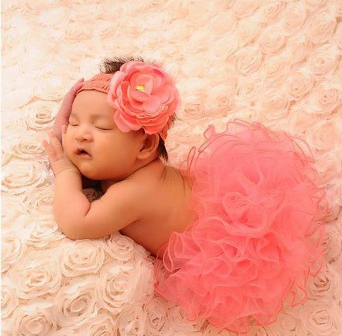 Cute Baby Infant Sunflower Curly Tutu Skirt Pink Costume