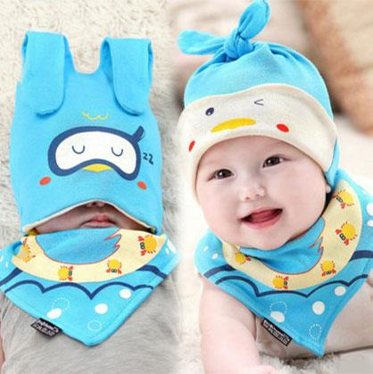 Cute Cartoon Baby Hat + Bib Set