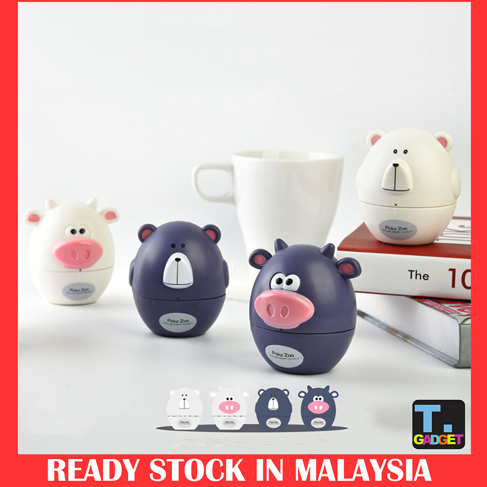 Cute Cartoon Cows Bear Kitchen Timer Mechanical Alarm Clock Without Ba