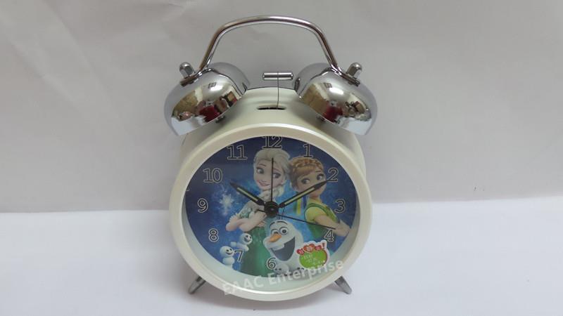 Cute Cartoon Frozen Beige Twin Bell Alarm Clock for Kids