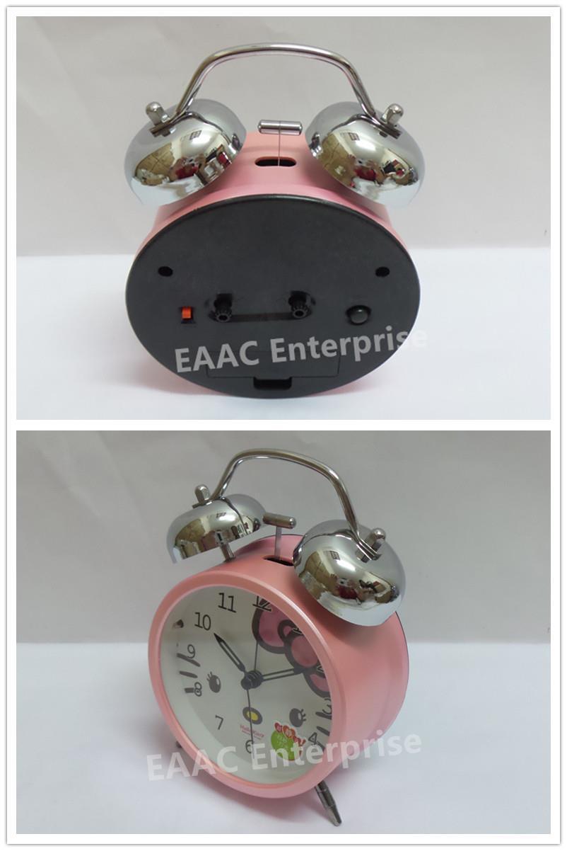 Cute Cartoon Hello Kitty 2 Twin Bell Alarm Clock for Kids