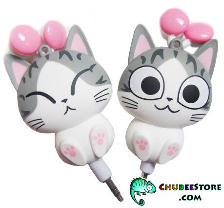 Cute cartoon retractable cord stereo earphone-Chi's Sweet Home cat