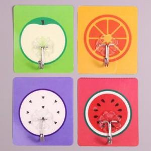 Cute Cartoon Strong Stickness Hook 4pcs (Fruit)