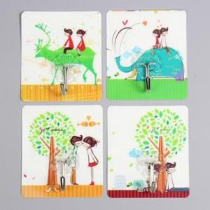 Cute Cartoon Strong Stickness Hook 4pcs (Romantic Love)